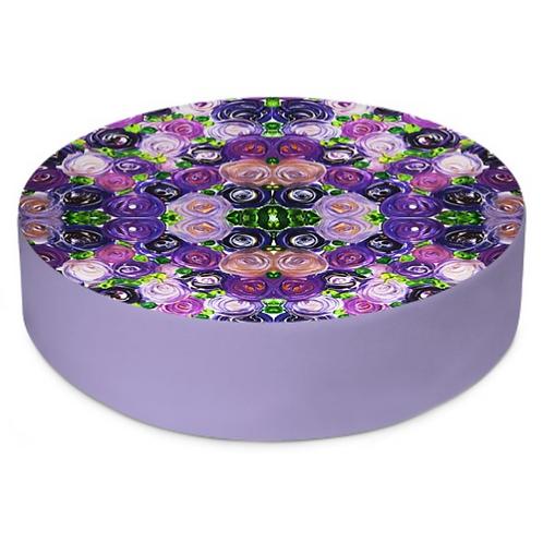 Purple Roses Round Floor Cushion