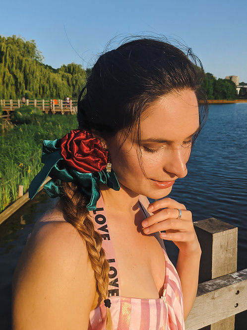 Red Rose Flower Satin Scrunchie