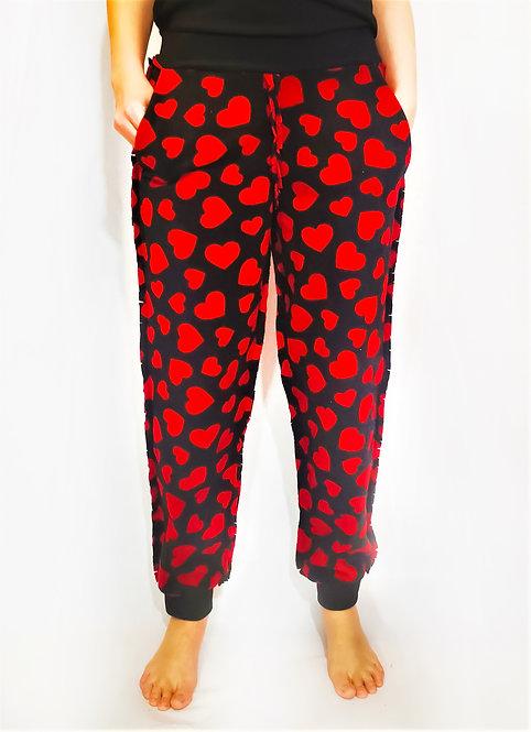 Black Red  Heart Fleece Loungewear Sweatpants