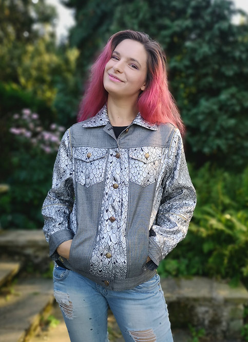 Denim and Brocade Silver Jacket