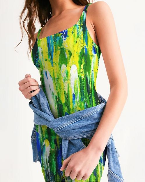 Abstract Greenery Women's Midi Bodycon Dress