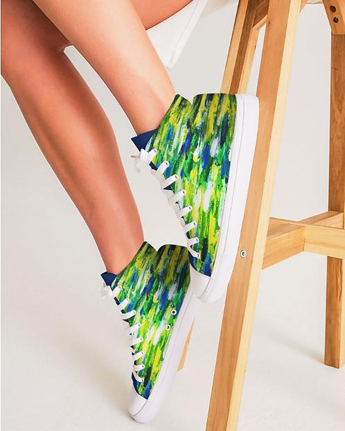 Abstract Greenery Women's Hightop Canvas Shoe
