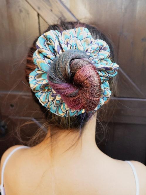 Luxe Blue Peacock Brocade Medium Scrunchie