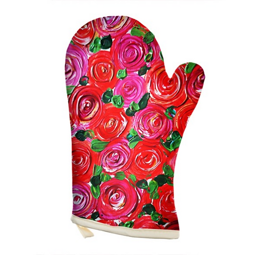 Red Roses Oven Glove
