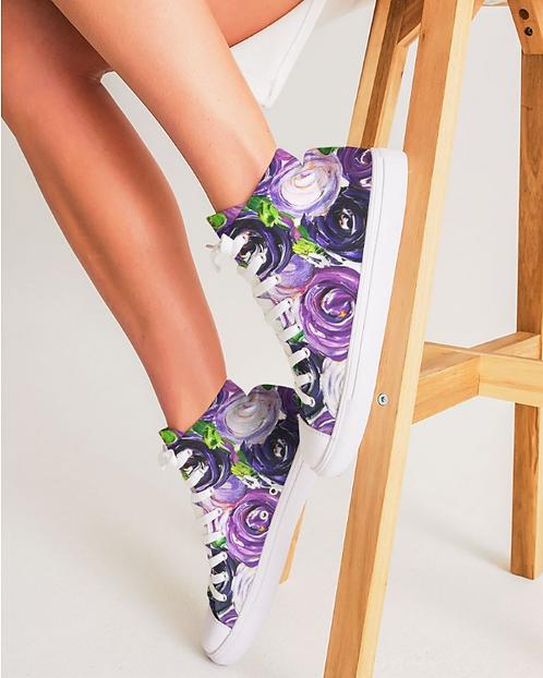 Purple Secret Garden Women's Hightop Canvas Shoe