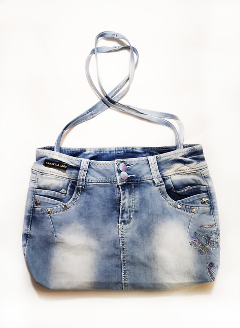 Re-Designed Denim Shoulder Bag Embroidered