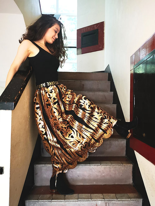 Long Gold Queen Sequin Skirt