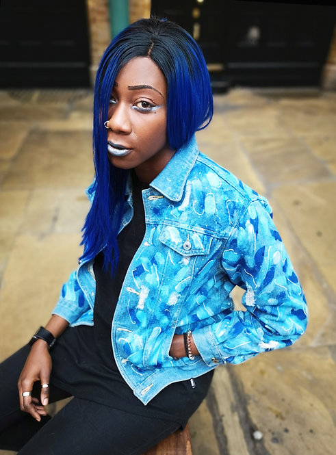 Hand painted Blue abstract Denim Jacket