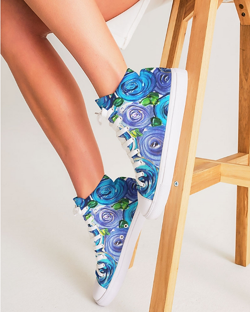 Blue Secret Garden Women's Hightop Canvas Shoe