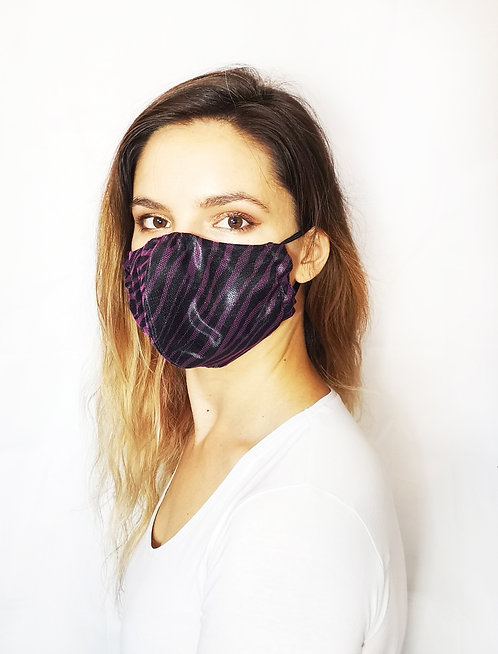Black Purple Zebra Face Mask