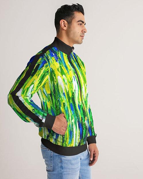 Abstract Greenery Men's Stripe-Sleeve Track Jacket