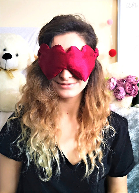 Red Heart Shaped Satin Eye Cover Mask