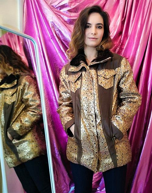 Luxe Brown Gold Peacock Coat