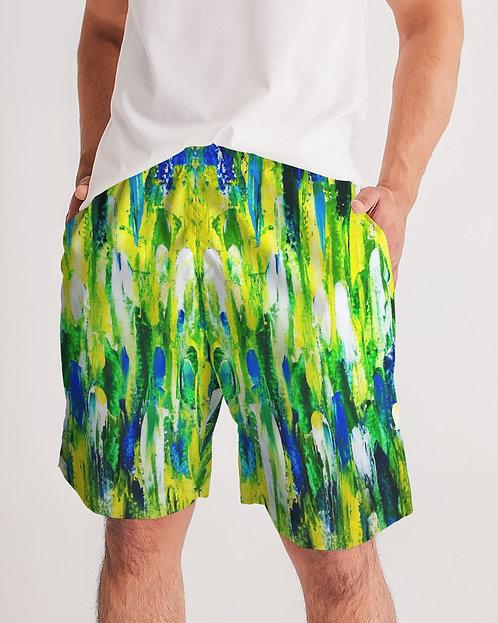 Abstract Greenery Men's Jogger Shorts