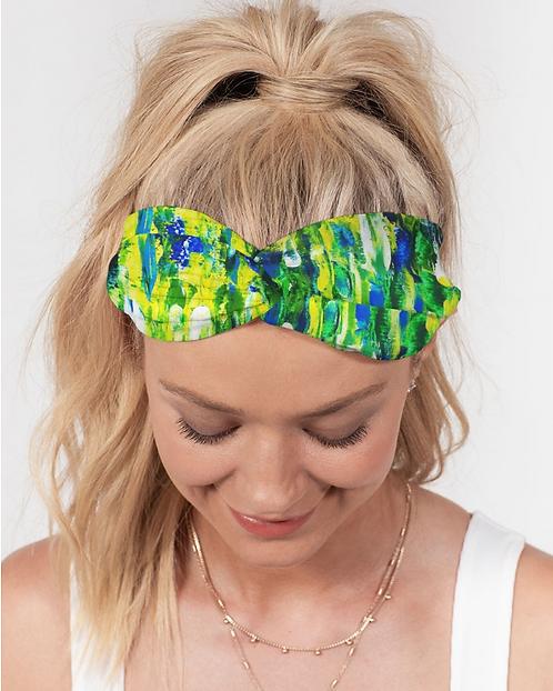 Abstract Greenery Twist Knot Headband Set