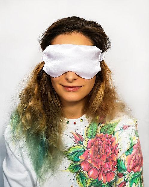 White Satin Eye Cover Mask