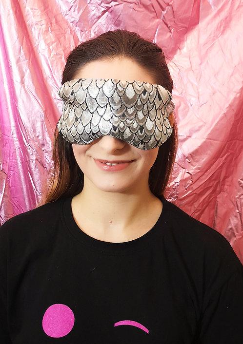 Silver Peacock Luxe Brocade and Satin Eye Cover Mask