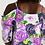 Thumbnail: Purple Secret Garden Women's Open Shoulder A-Line Dress