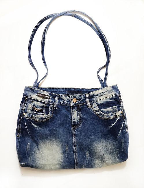 Re-Designed Denim Shoulder Bag Dark Blue