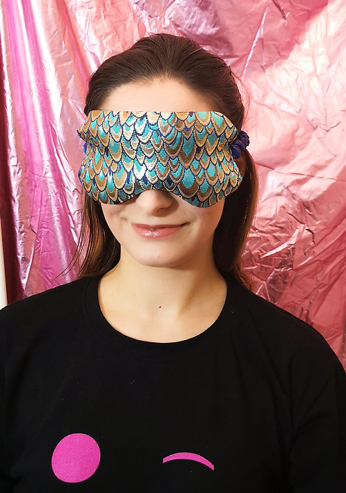 Blue Gold Peacock Luxe Brocade and Satin Eye Cover Mask