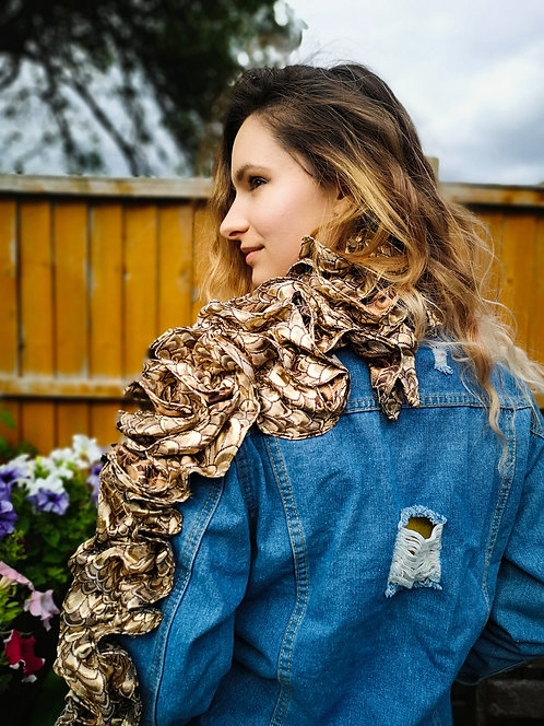 Ruffle Brocade Denim Jacket