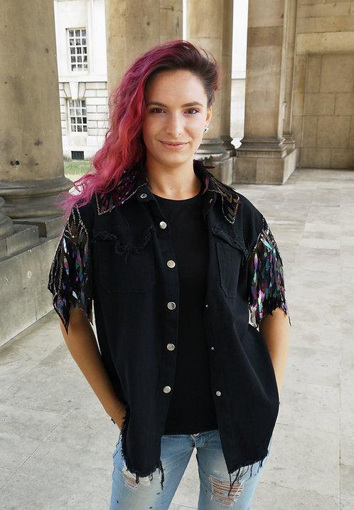 Black Denim Vest with Sequin Lace Sleeves