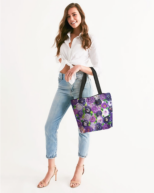 Purple Secret Garden Canvas Zip Tote