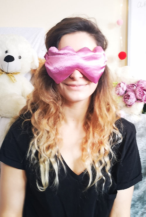 Dusty Pink Heart Shaped Satin Eye Cover Mask
