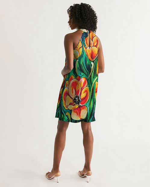 Summer Flowers Women's Halter Dress