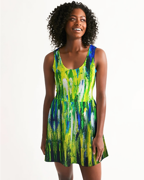 Abstract Greenery Women's Scoop Neck Skater Dress
