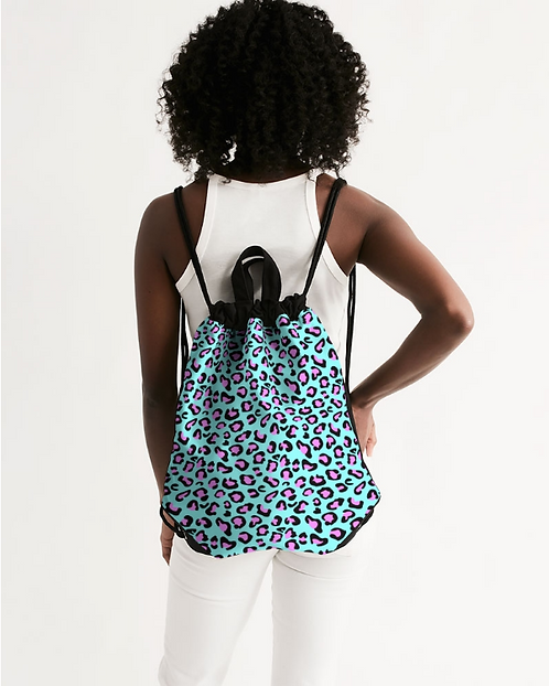 Funky Cheetah Print Canvas Drawstring Bag