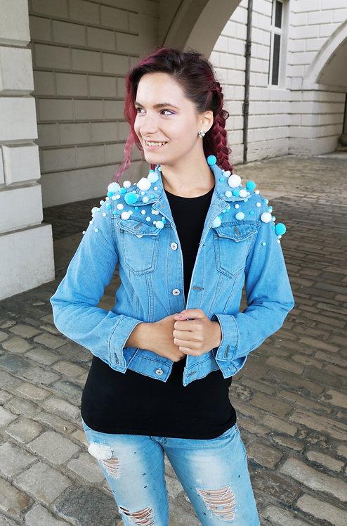 Blue Denim Pom Pom Jacket