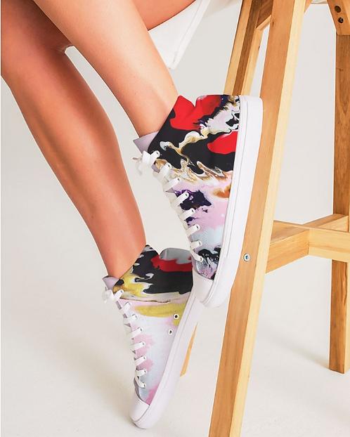 Pouring Contrast Women's Hightop Canvas Shoe