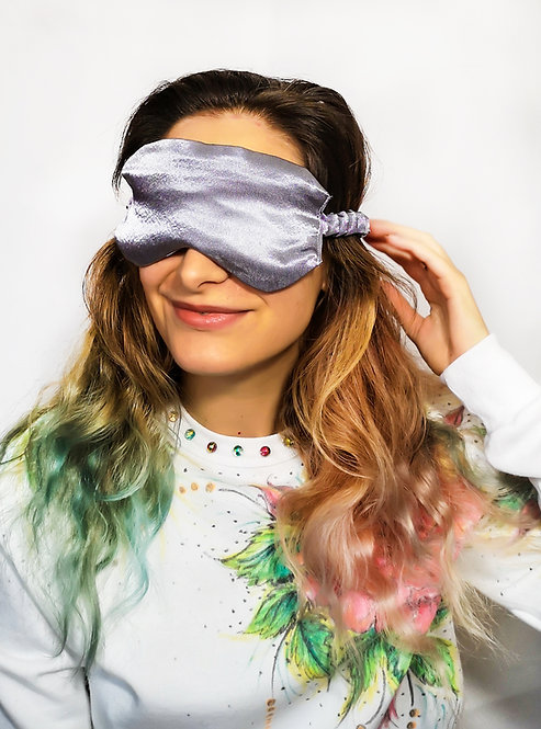 Silver Satin Eye Cover Mask