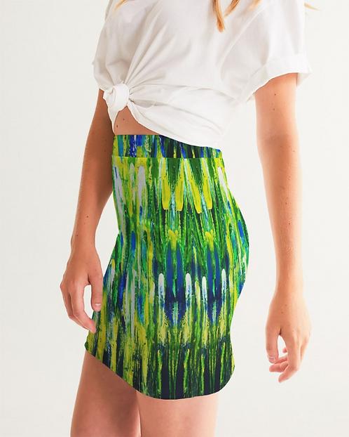 Abstract Greenery Women's Mini Skirt
