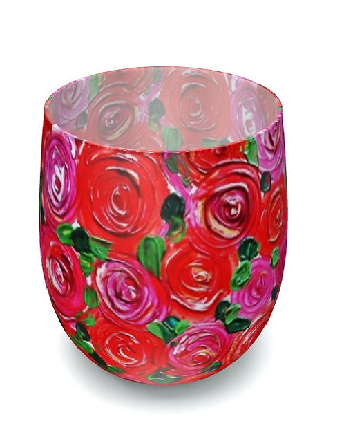 Red Roses Water Glass