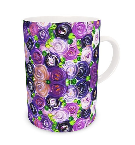 Purple Roses Bone China Mug