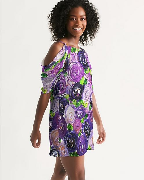 Purple Secret Garden Women's Open Shoulder A-Line Dress