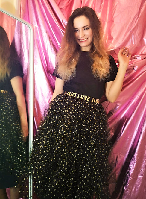 Gold Hearts Tulle Skirt