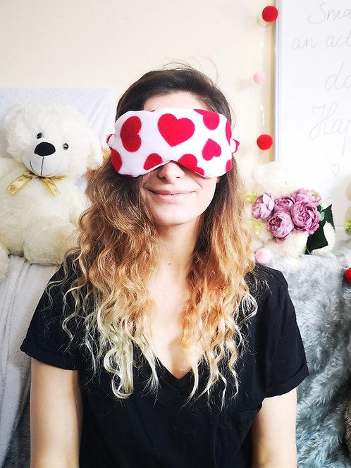 White Red Heart Fleece Eye Cover Mask Blindfold