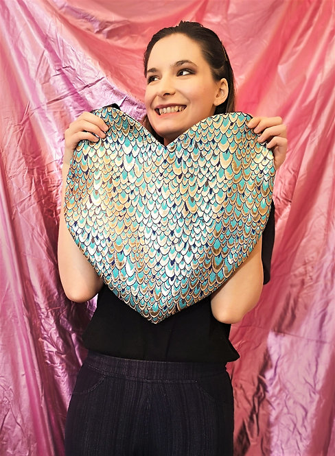 Blue Gold Peacock Heart Tote Bag