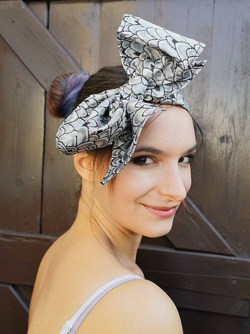 Luxe Silver Brocade Bow Hairband
