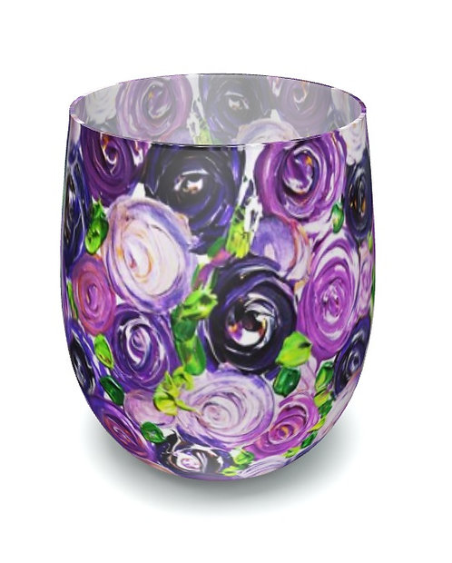Purple Roses Water Glass