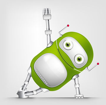 Cartoon Character Cute Robot Isolated on Grey Gradient Background. Gym..jpg