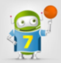 Cartoon Character Cute Robot Isolated on Grey Gradient Background. Basketball..jpg