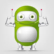 Cartoon Character Cute Robot Isolated on Grey Gradient Background. Strong..jpg
