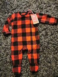 0-3 months tartan fleece Sleepsuit