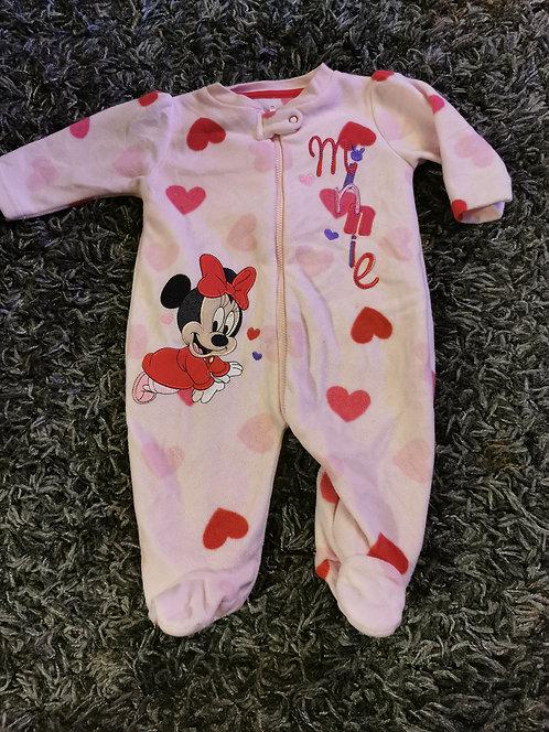 0-3 months Minnie Mouse fleece sleepsuit