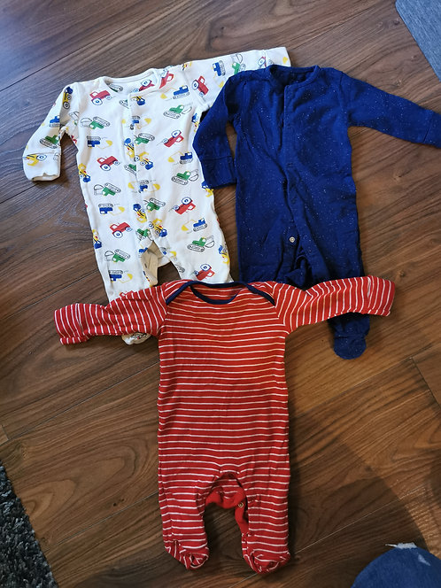 3x 0-3 Month sleepsuits