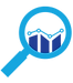 Qualitative Research Icon with magnifying glass hovering over data.